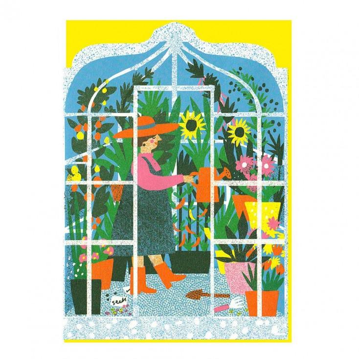 Greenhouse Die Cut Greeting Card