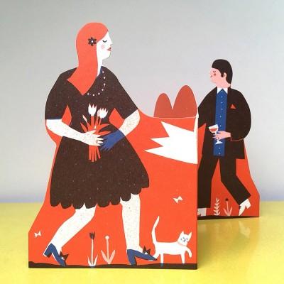 Man and Woman Concertina Heart Greeting Card