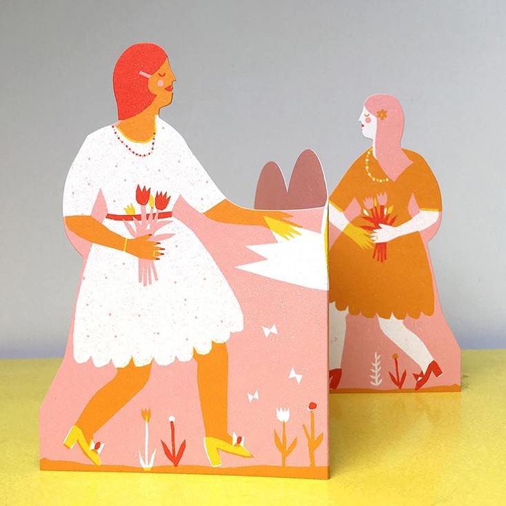 Two Women Concertina Heart Greeting Card