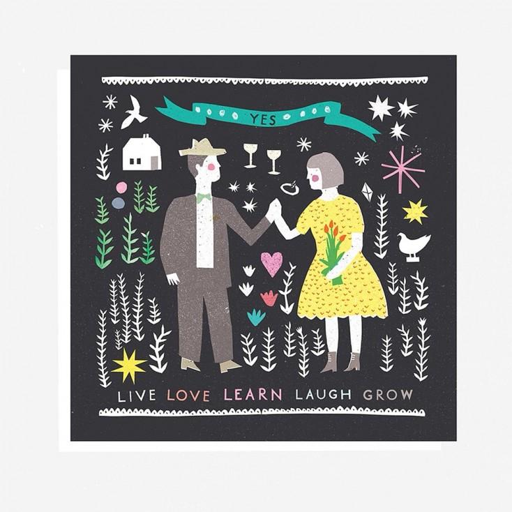 Folk Life Collage Greeting Card
