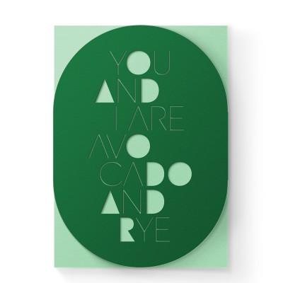 Dear Beni Avocado & Rye Laser-Cut Greeting Card
