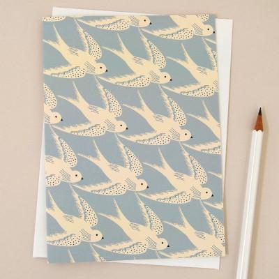 Elvira Van Vredenburgh Deco Bird in Blue Greeting Card