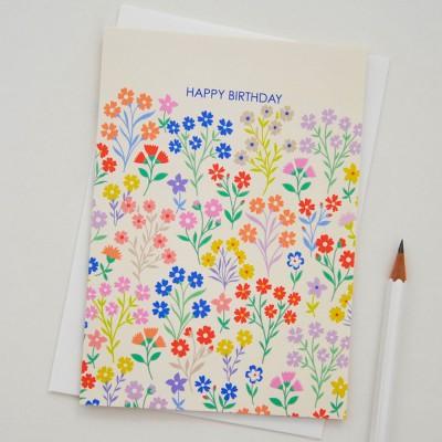 Elvira Van Vredenburgh 'Happy Birthday' Flora Greeting Card