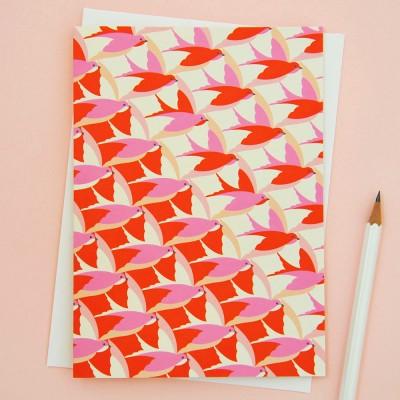 Elvira Van Vredenburgh Hot Pink Birds Inflight Greetings Card