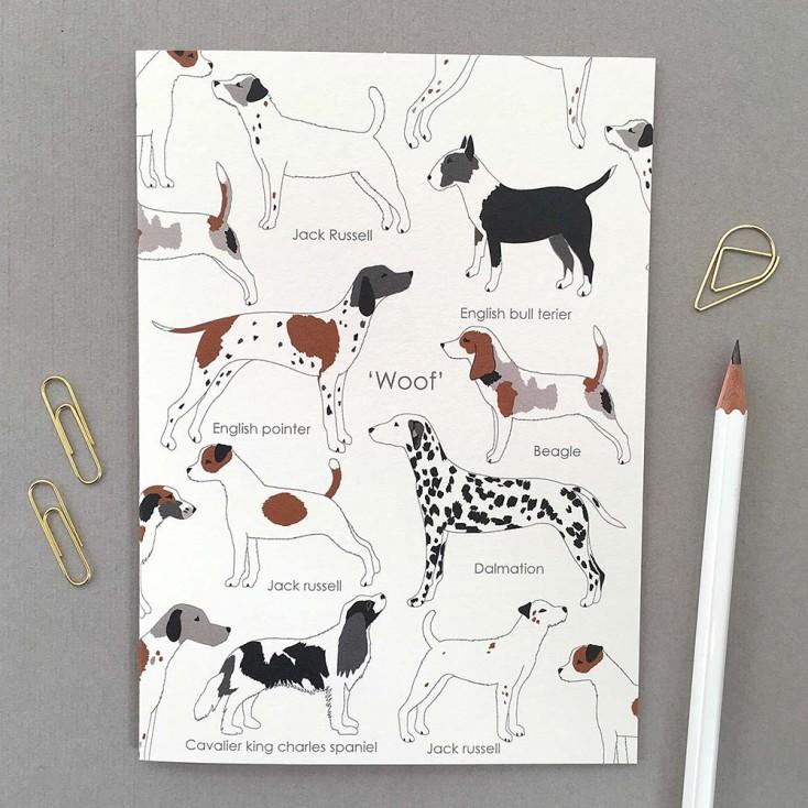 Elvira Van Vredenburgh 'Woof' Dog Illustrated Greeting Card on Cream
