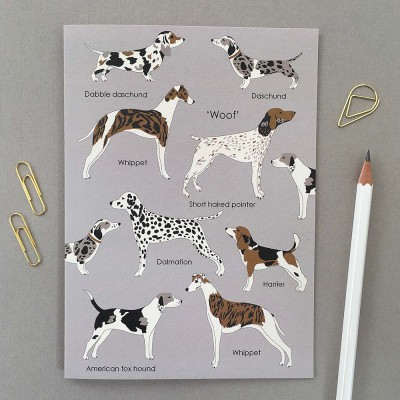 'Woof' Dog Illustrated Greeting Card on Grey