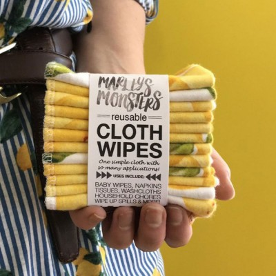 Marley's Monsters Cloth Wipes Set of 12 - Vintage Lemon