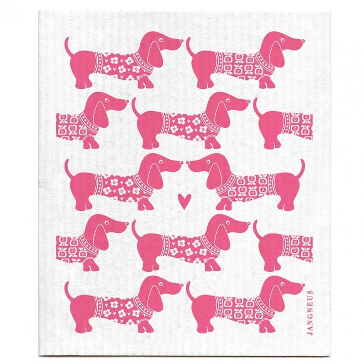 Jangneus Dishcloth - Pink Dachshund