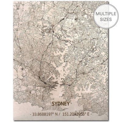 Brandthout Sydney Wooden Wall Citymap
