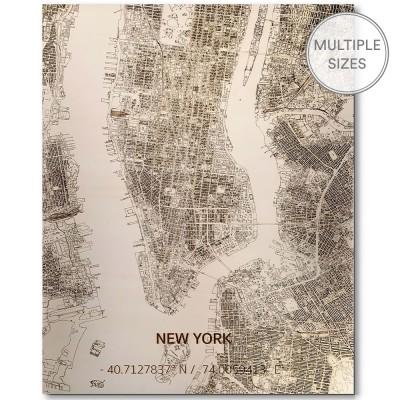 Brandthout New York Wooden Wall Citymap