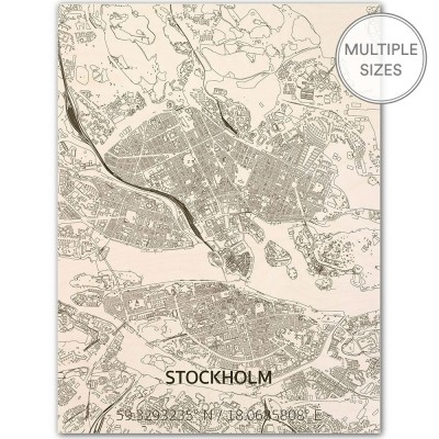 Brandthout Stockholm Wooden Wall Citymap
