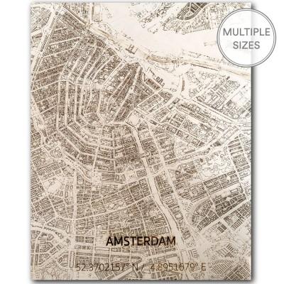 Brandthout Amsterdam Wooden Wall Citymap