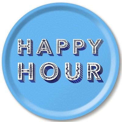 Asta Barrington Happy Hour Blue Round Tray By Jamida