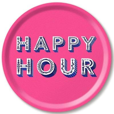 Asta Barrington Happy Hour Pink Round Tray By Jamida