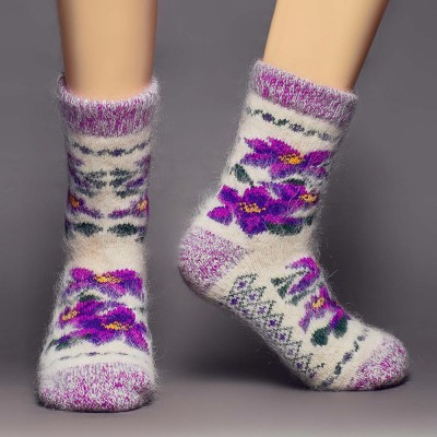 Siberia Spirit Winter Violets Goat Hair Socks